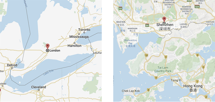 London Ontario Canada, Shenzhen, China Maps